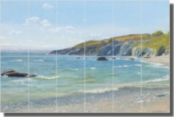 "Perran Point, Cornwall by Arthur Hughes - Seascape Beach Tumbled Marble Tile Mural 12"" x 16"" Kitchen"