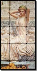 "Moore ""Silver"" Old World Tumbled Marble Tile Mural 16"" x 32"" - AJM008"