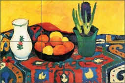 Still Life with Hyacinthe by August Macke Ceramic Tile Mural AM4001
