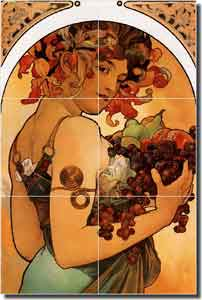 "Mucha Fruit Grapes Ceramic Tile Mural 12"" x 18"" - AMM016"
