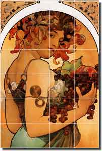 "Mucha Fruit Grapes Ceramic Tile Mural 17"" x 25.5"" - AMM016"