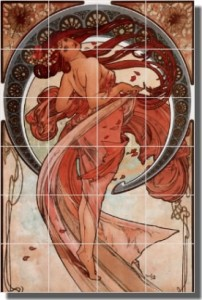"Dance by Alphonse Maria Mucha - Artwork On Tile Ceramic Mural 25.5"" x 17"" Kitchen Shower Backsplash"