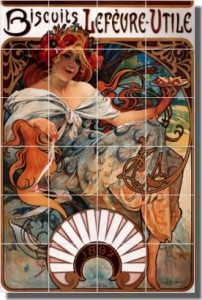 "Buscuits Lefvre-Utile by Alphonse Maria Mucha - Artwork On Tile Ceramic Mural 25.5"" x 17"" Kitchen Sh"