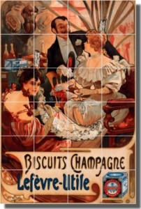 "Buscuits Champagne-Lefvre-Utile by Alphonse Maria Mucha - Artwork On Tile Ceramic Mural 25.5"" x 17"""