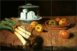 Still Life with Leeks, Cheese and Apples by Carl Schuch Ceramic Tile Mural AOT-CS001
