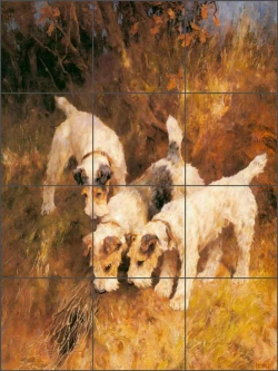 Terriers on the Scent by Arthur Wardle Ceramic Tile Mural AW003