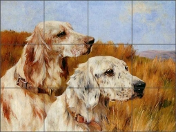 Two Setters by Arthur Wardle Ceramic Tile Mural AW004