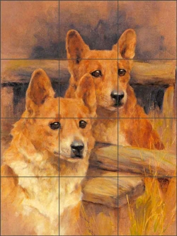 Two Corgis by Arthur Wardle Ceramic Tile Mural AW006