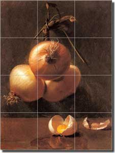 "Bache Onion Vegetable Ceramic Tile Mural 12.75"" x 17"" - BB001"