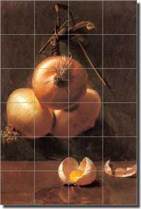 "Bache Onion Vegetable Ceramic Tile Mural 17"" x 25.5"" - BB001"