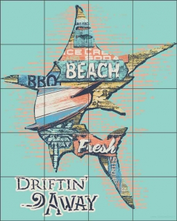 Marlin Driftin' Away by Jim Baldwin Ceramic Tile Mural BC-JB01