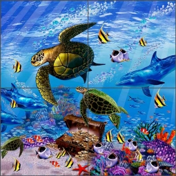 Hallmark Turtles by John Enright Ceramic Tile Mural BC-JE11