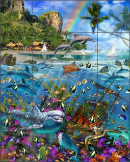 Tropical Treasures by John Enright Glass Tile Mural BC-JE12