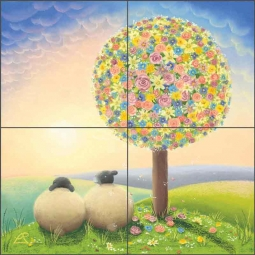 Falling for Ewe by Lucy Pittaway Ceramic Tile Mural BC-LP05