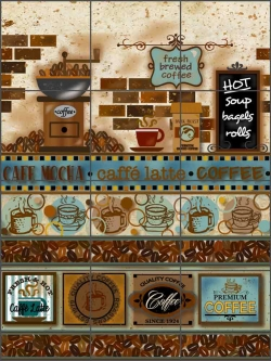 Cafe Latte 1 by Trena Olsen Ceramic Tile Mural BC-TO01