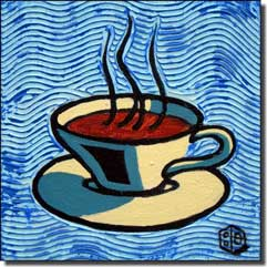Cole Coffee Cup Blue Ceramic Accent Tile - BCA001AT