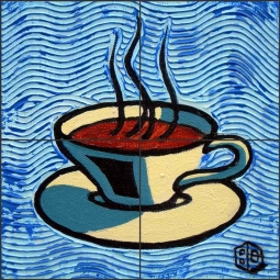 Coffee Cup, Blue by Beaman Cole Ceramic Tile Mural BCA001
