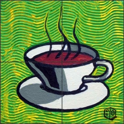Coffee Cup, Green by Beaman Cole Ceramic Tile Mural BCA002