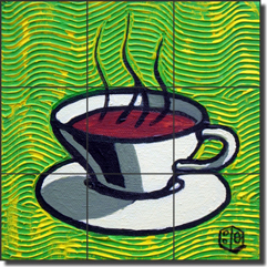 "Cole Coffee Cup Green Ceramic Tile Mural 12.75"" x 12.75"" - BCA002"