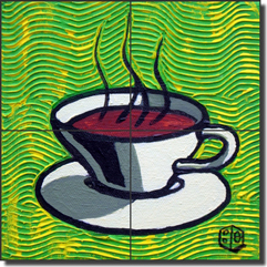 "Cole Coffee Cup Green Ceramic Tile Mural 8.5"" x 8.5"" - BCA002"