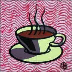 Cole Coffee Cup Kitchen Ceramic Tile Mural - BCA003