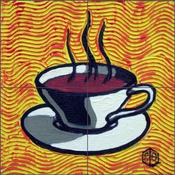 Coffee Cup, Yellow by Beaman Cole Ceramic Tile Mural BCA004