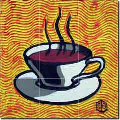 "Coffee Cup - Yellow by Beaman Cole -  Ceramic Tile  Mural 12.75"" x 12.75"""