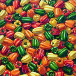 "Cole Vegetable Peppers Glass Accent Tile 6"" x 6"" - BCA010AT"