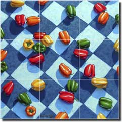 "Cole Vegetable Bell Peppers Ceramic Tile Mural 12.75"" x 12.75"" - BCA012"