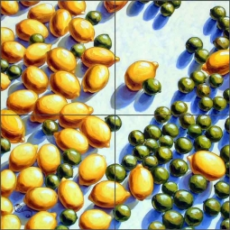 Key Limes and Lemons by Beaman Cole Ceramic Tile Mural - BCA021
