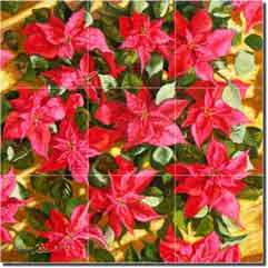 "Red Delight by Beaman Cole -  Foliage Ceramic Tile Mural 12.75"" x 12.75"""