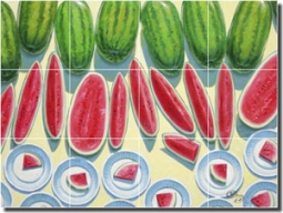 "Cole Watermelon Fruit Ceramic Tile Mural 24"" x 18"" - BCA028"