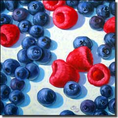 "Cole Fruit Blueberry Raspberry Ceramic Accent Tile 4.25"" x 4.25"" - BCA029AT"