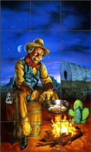 On the Range by Bruce Eagle Cowboy Ceramic Tile Mural - BEA012