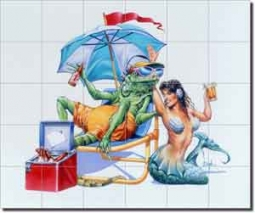 "Lounge Lizard by Bruce Eagle - Ceramic Tile Mural 21.25"" x 25.5"""