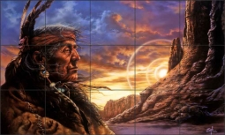Old Warrior by Bruce Eagle Ceramic Tile Mural - BEA018