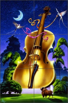 Violin by Bruce Eagle Ceramic Tile Mural - BEA025