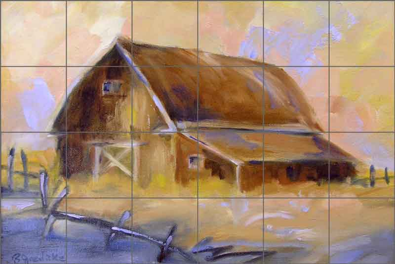 Brown Barn by Bette Jaedicke Ceramic Tile Mural - BJA004
