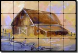 "Jaedicke Country Barn Tumbled Marble Tile Mural 24"" x 16"" - BJA004"