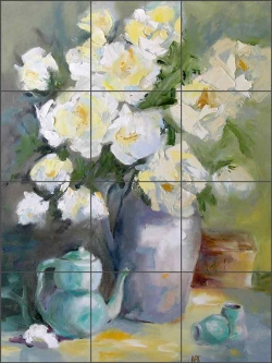Chinese Teapot by Bette Jaedicke Ceramic Tile Mural BJA006