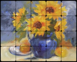 Girasoles by Bette Jaedicke Tumbled Marble Tile Mural BJA014