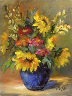 Mixed Bouquet by Bette Jaedicke Ceramic Tile Mural BJA020