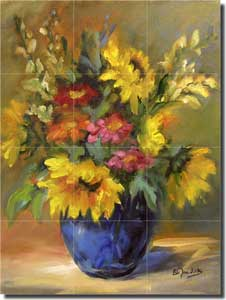 "Jaedicke Sunflowers Floral Glass Mural 18"" x 24"" - BJA020"