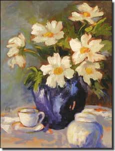 "Jaedicke Daisy Flowers Floral Ceramic Accent Tile 6"" x 8"" - BJA022AT"