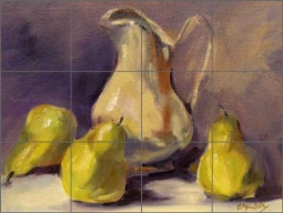 Pear Party by Bette Jaedicke Ceramic Tile Mural - BJA026