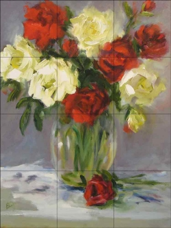 Roses are Red by Bette Jaedicke Ceramic Tile Mural BJA030