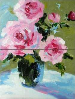 Roses with Blues by Bette Jaedicke Ceramic Tile Mural BJA031