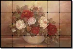 "Cook Rose Floral Tumbled Marble Tile Mural 36"" x 24""  6"" - CC001"