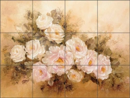Burnished Roses by Carolyn Cook Ceramic Tile Mural CC002