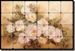 "Cook Roses Floral Tumbled Marble Tile Mural 24"" x 16"" - CC002"